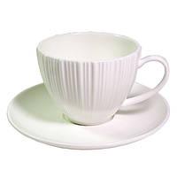 Чашка с блюдцем Fissman ELEGANCE WHITE 100 мл (Фарфор)