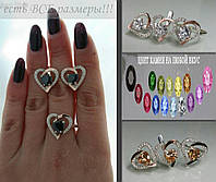 Женское серебряное украшение с фианитами - Два сердца
