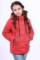 Куртка детская для девочки демисезонная красная на рост 116 - 152 см, NK-01