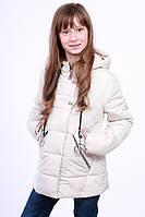 Куртка детская для девочки демисезонная бежевая на рост 116 - 152 см, NK-04
