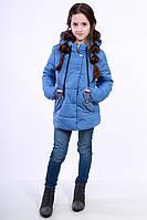 Куртка детская для девочки демисезонная голубая на рост 116 - 152 см, NK-03