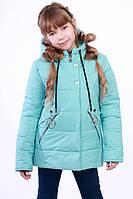 Куртка детская для девочки демисезонная бирюзовая на рост 116 - 152 см, NK-05