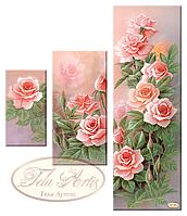 """Схема-триптих для вышивки бисером на габардине """"Розовый сад"""""""
