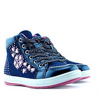 Демисезонные модные ботинки на девочку бренда Clibee Размеры 25 -30 Синие