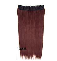 Модная накладная прядь из искусственных волос, длинные прямые волосы на 5-ти клипсах-заколках, цвет №33