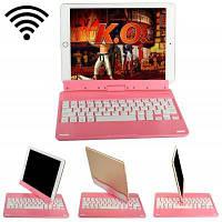 2-в-1 поворотный Беспроводная клавиатура с Bluetooth / Встроенный Дисплей стенд-в литиевая батарея для iPad воздуха Розовый