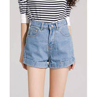Стильный Кнопка Fly высокой талией Bleach Вымойте джинсовые шорты для женщин 33