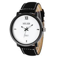 Miler A828502 Аналоговые мужские наручные часы кварцевые часы для мужчин кожаный ремешок для часов Белый и чёрный