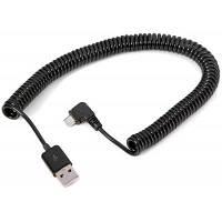 CY RI-3.0M спиральный кабель-переходник с USB 2.0 (папа) на Micro USB (мама) Чёрный