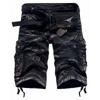 Стильные мужские шорты, материал с камуфляжным узором, застежка на молнию и пуговицу 32