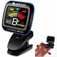 ДЖОЙО СГП-03 360 градусов вращения Clip-на цветной ЖК-цифровой гитарный тюнер метроном для бас Укулеле Чёрный