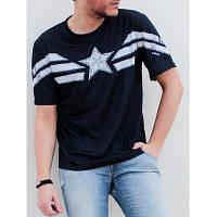 Мода шею похудения цвет блока Капитан Америка Дизайн коротким рукавом полиэстер футболки для мужчин 3XL