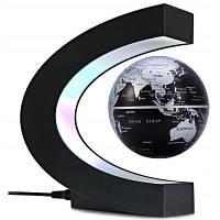 C-образная магнитная левитация плавающая глобальная карта мира с красочным светодиодом для украшения дома и офиса Чёрный