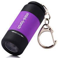 Мини фонарик-наключник с яркостью свечения 25 люмен, брелок Фиолетовый