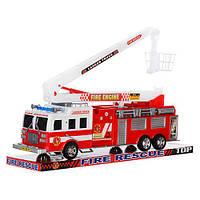 Пожарная машина SH-8855 (24шт) инер-я, 41-16-11см, подвижная стрела, в слюде, 45-18-12см