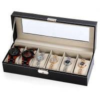 Шкатулка для хранения часов и браслетов с 6 отделениями из искусственной кожи Чёрный