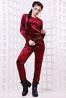 Женский модный костюм из мраморного велюра (3 цвета) электрик, 46