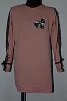 Подростковое платье-туника с кружевом возраст от 8-14 лет