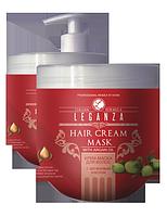МАСКА - КРЕМ для сухих и поврежденных волос с аргановым маслом LEGANZA  1000 мл с дозатором, фото 1