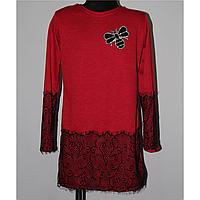 Подростковое платье-туника с кружевом