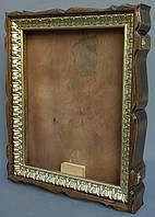"""Киот для иконы фигурный из ольхи с багетом """"под золото""""."""