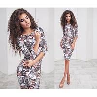 Женское платье миди яркий принт коричневый цветок