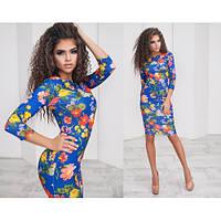 Женское платье миди яркий принт цветы + (4 цвета)