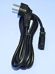 Шнур живлення 220V комп'ютерний 3x0.75мм2, кут. вилка, CCA, 1.8м 5-0321