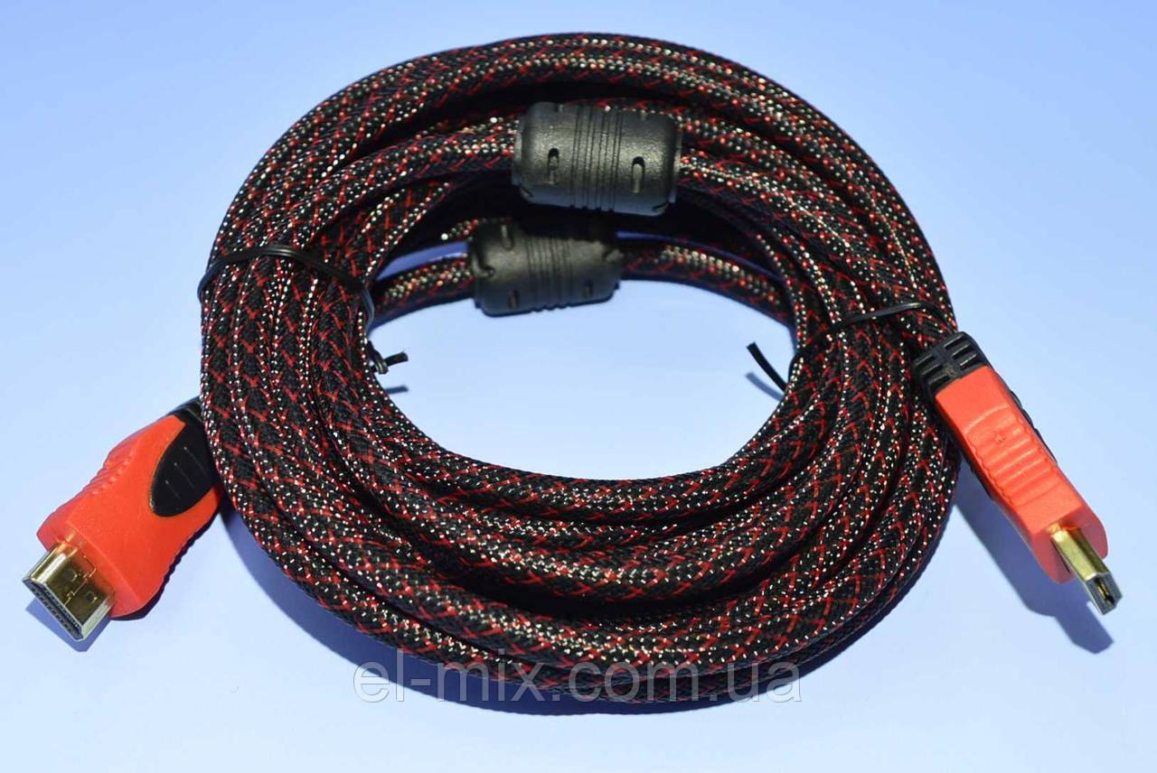 """Шнур шт. HDMI - шт. HDMI """"Tcom"""" 55-0504 V1.4 d-6.8 мм, фільтр+сітка, чорно-червоний 5.0 м"""