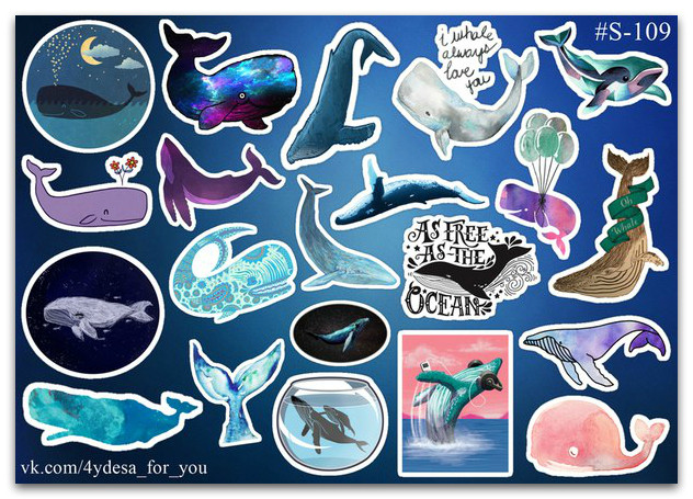 Stickers Pack Whales, Киты #109