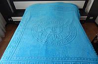 Покрывало микрофибра 200*220 Версаче Versace Турция голубое, фото 1