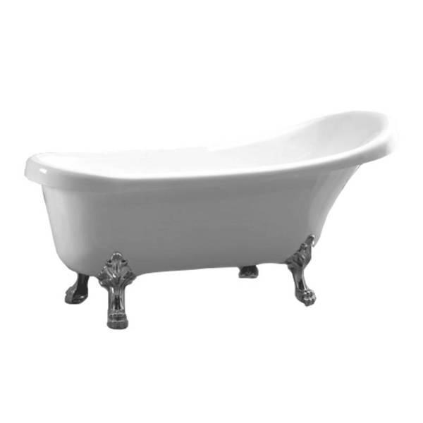 Акриловая ванна Atlantis C-3014,(ножки - серебро) без перелива, 1500х700х700 мм