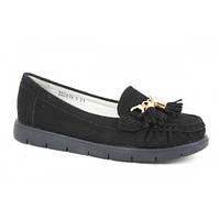 Детские туфли мокасины для девочек черные B&G р. 31-36