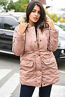 Куртка парка женская водоотталкивающая большого размера с искусственным мехом енота на капюшоне