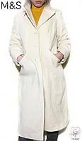 Пальто белое M&S р. XS 40 шерстяное длинное женское на подростка девочку