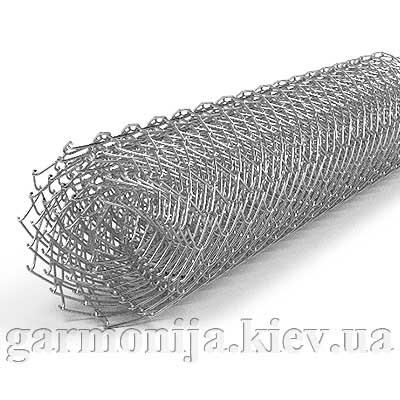 Сетка рабица 50х50х1.6 мм, высота 1.5х10 м, оцинкованная загнутые концы