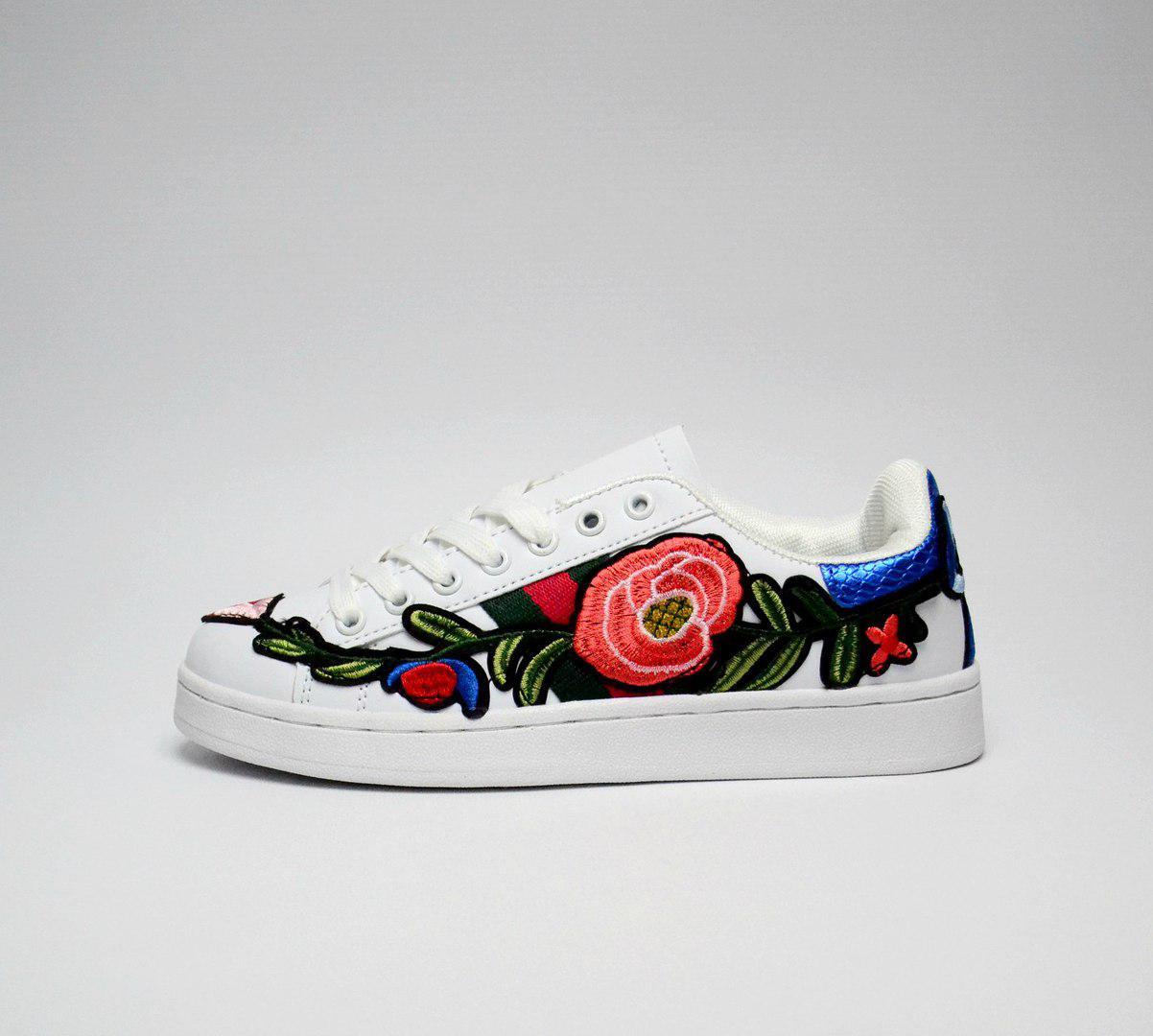 Женские кроссовки Gucci, Белые с принтом Цветы, Эко-кожа, Прошиты - Интернет 50f02acda9f