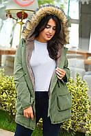 Куртка парка женская большого размера 50,52,54 с мехом на капюшоне и внутри