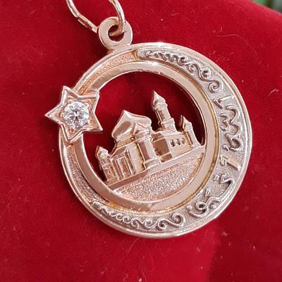 Золотий мусульманський кулон підвіска Півмісяць із зіркою і мечеттю