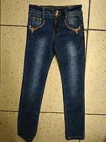 Детские синие джинсы с красивым узором для девочки 20р