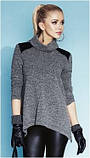 Блузка, кофточка женская серая, светлая с длинным рукавом, теплая, шерстяная, свитер тонкий Zaps 2014, 2015 , фото 2