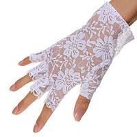 Перчатки гипюровые белые