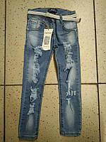 Детские джинсы для девочки с белым поясом 3-4, 5-6лет