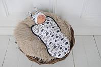 Евро пеленка кокон на молнии+ шапочка, Облачка белые, 0-3 мес , фото 1