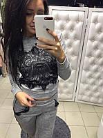 Костюм женский спортивный стильный с отделкой кружева: свитшот и штаны (4 цвета) хаки, S