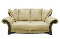 """Стильный раскладной 3х местный кожаный диван """"Mayfaer"""", бежевый (218 см)"""
