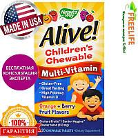 Nature's Way, Alive! Детские жевательные мультивитамины со вкусом апельсина и ягод, 120 жевательных таблеток, , фото 1