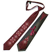 Галстук с вышивкой бордового цвета для подростков №712