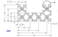 Станочный алюминиевый профиль 40х80 1000мм