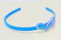 Обруч для волос, пластик, голубой, два сердца